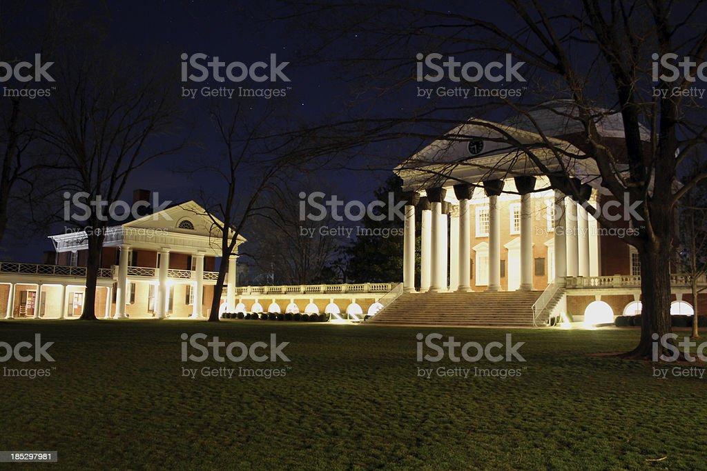 University of Virginia's Rotunda at night stock photo