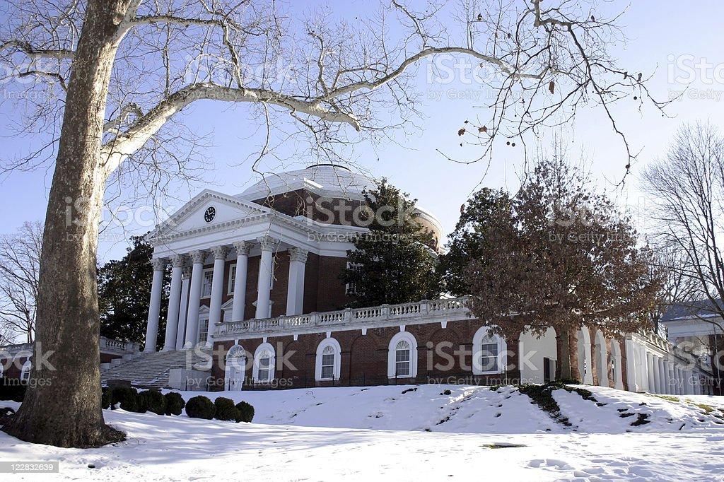 University of Virginia's Rotunda in Winter stock photo