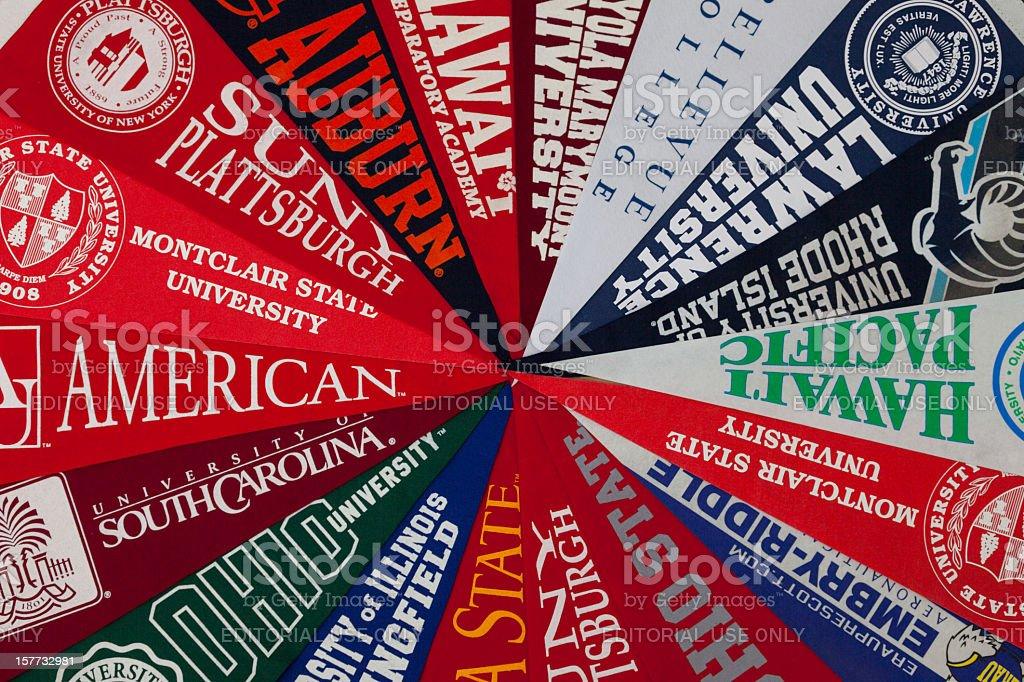 University pennants stock photo