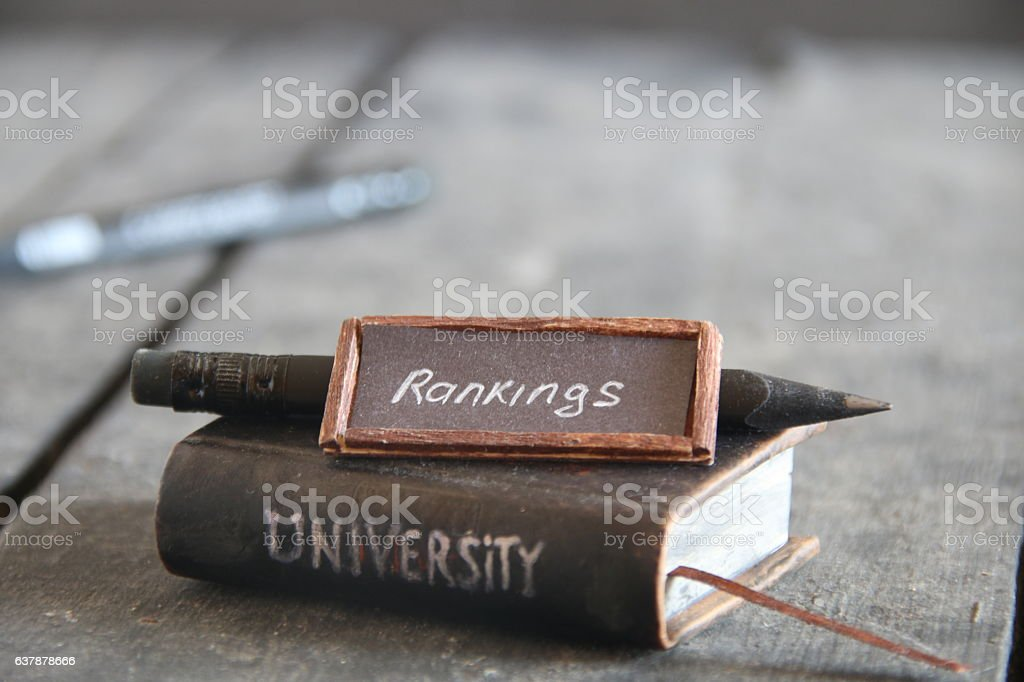 university rankings idea, vintage composition stock photo