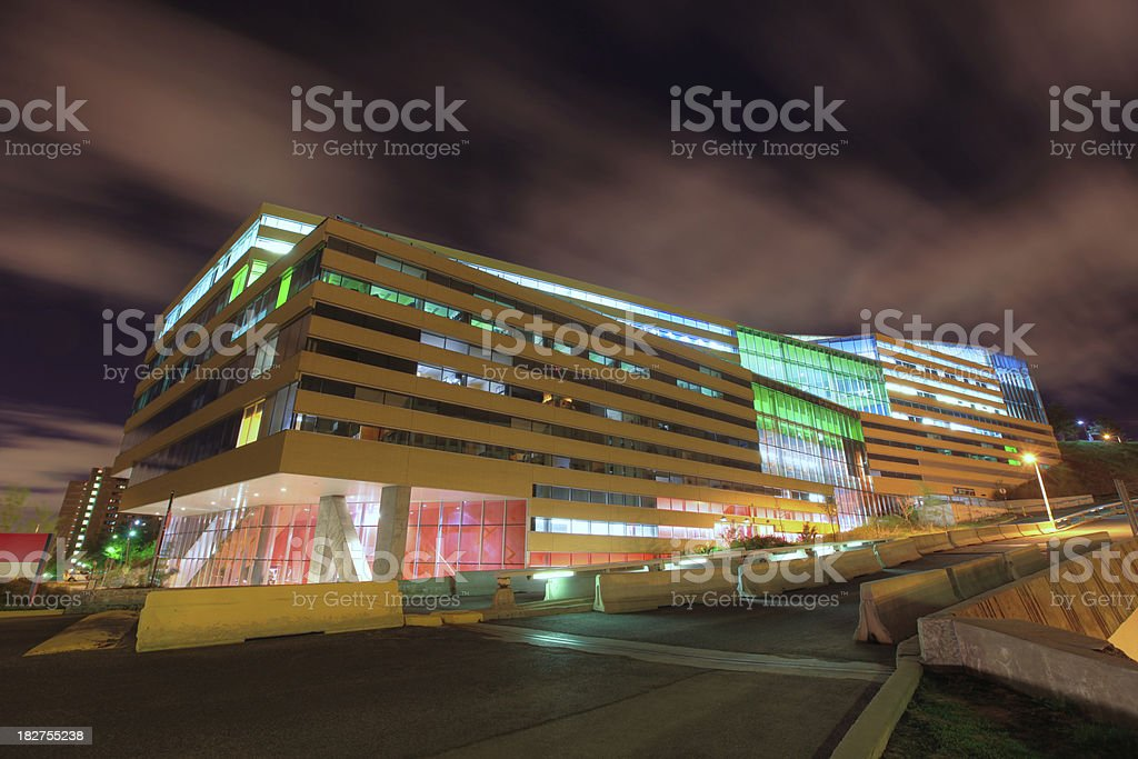 University School building in Montreal at night royalty-free stock photo