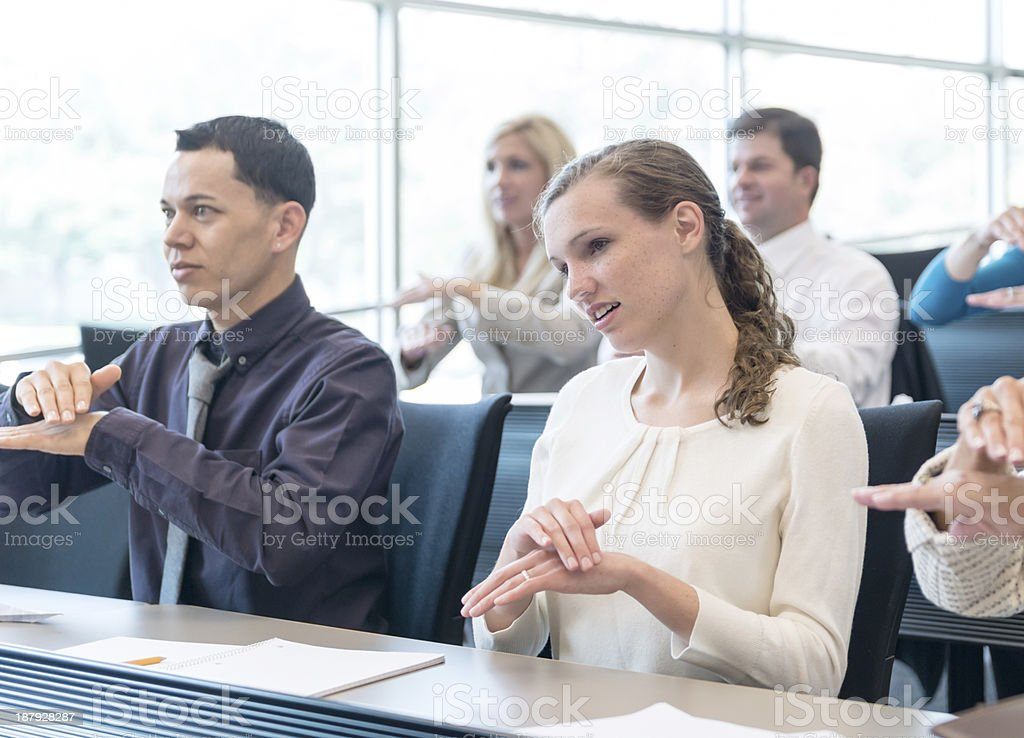 University Sign Language Class stock photo
