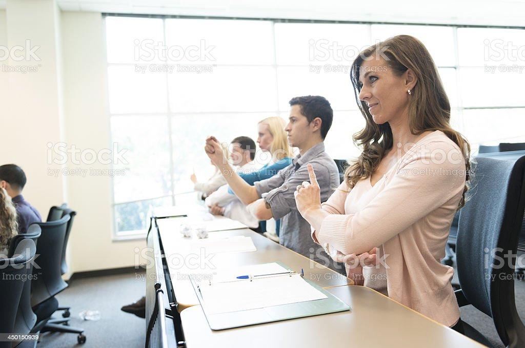 University Sign Language Class signing DAY stock photo