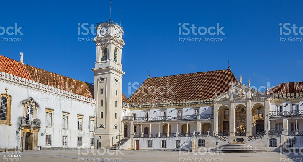 University square and bell tower in Coimbra stock photo