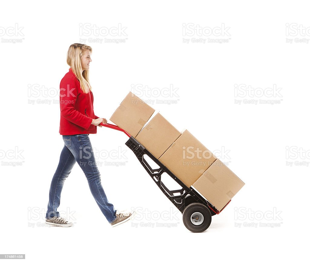 University Student Back to School Moving Belongings on White Background royalty-free stock photo