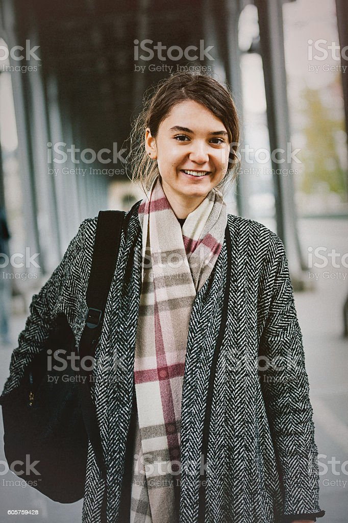 University student girl portrait stock photo