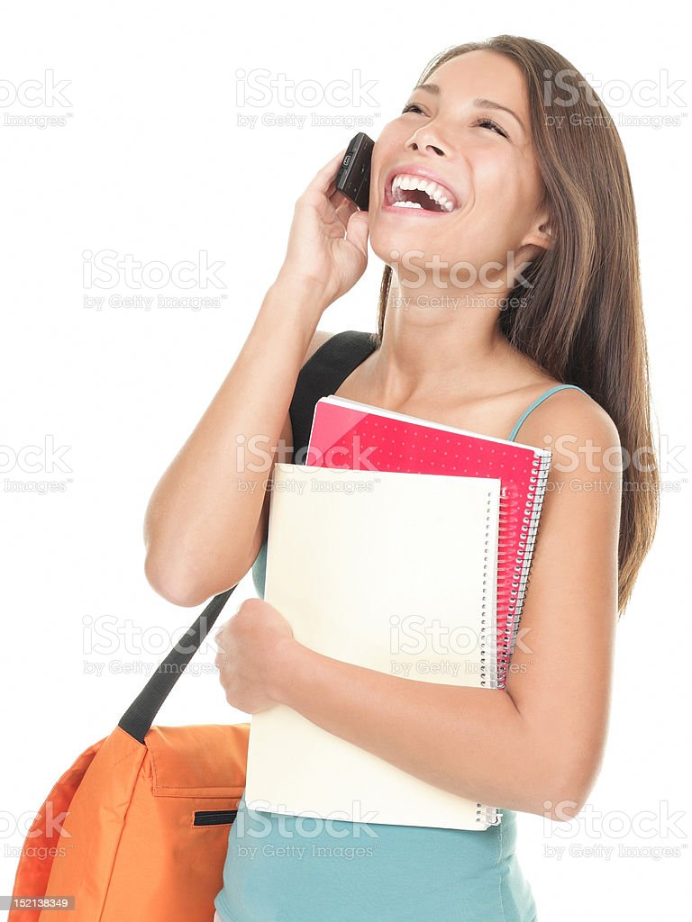 University student laughing on the phone royalty-free stock photo