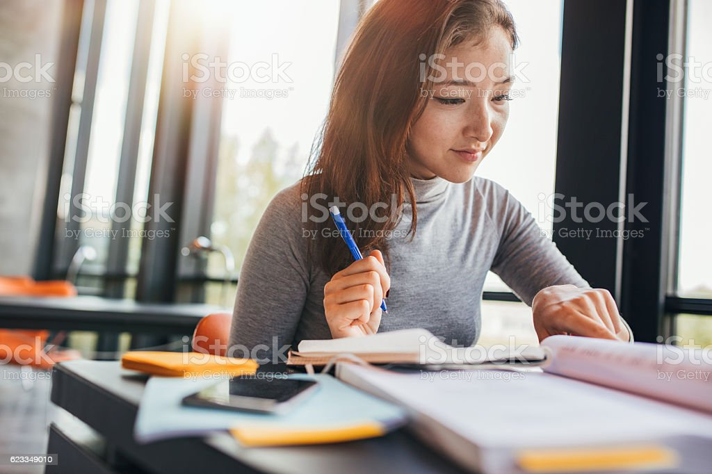 University student preparing for final exams stock photo