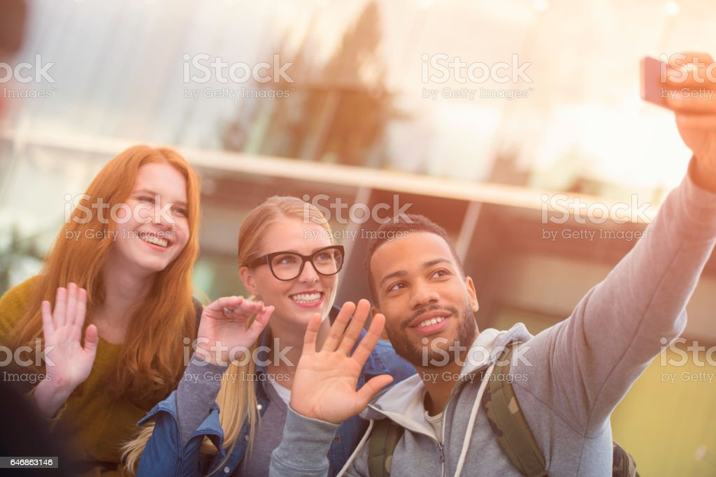 University student taking selfie stock photo