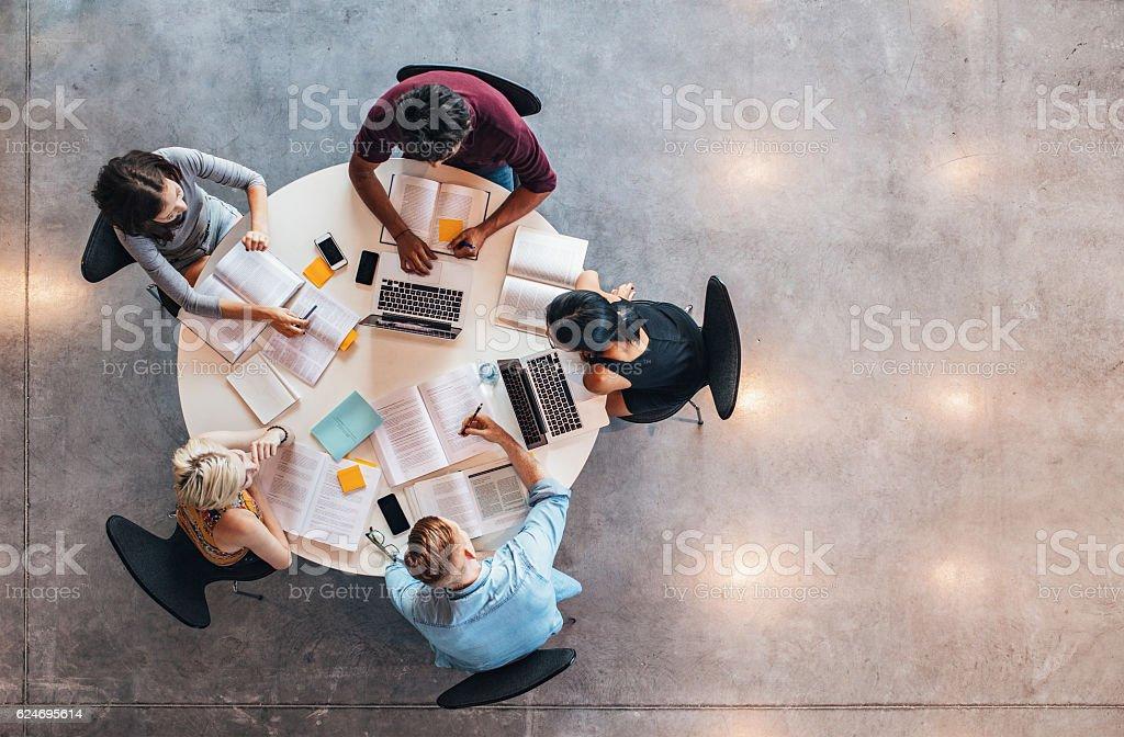 University students doing group study royalty-free stock photo