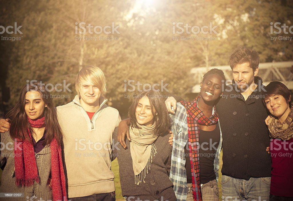 University students having a great time outdoors royalty-free stock photo