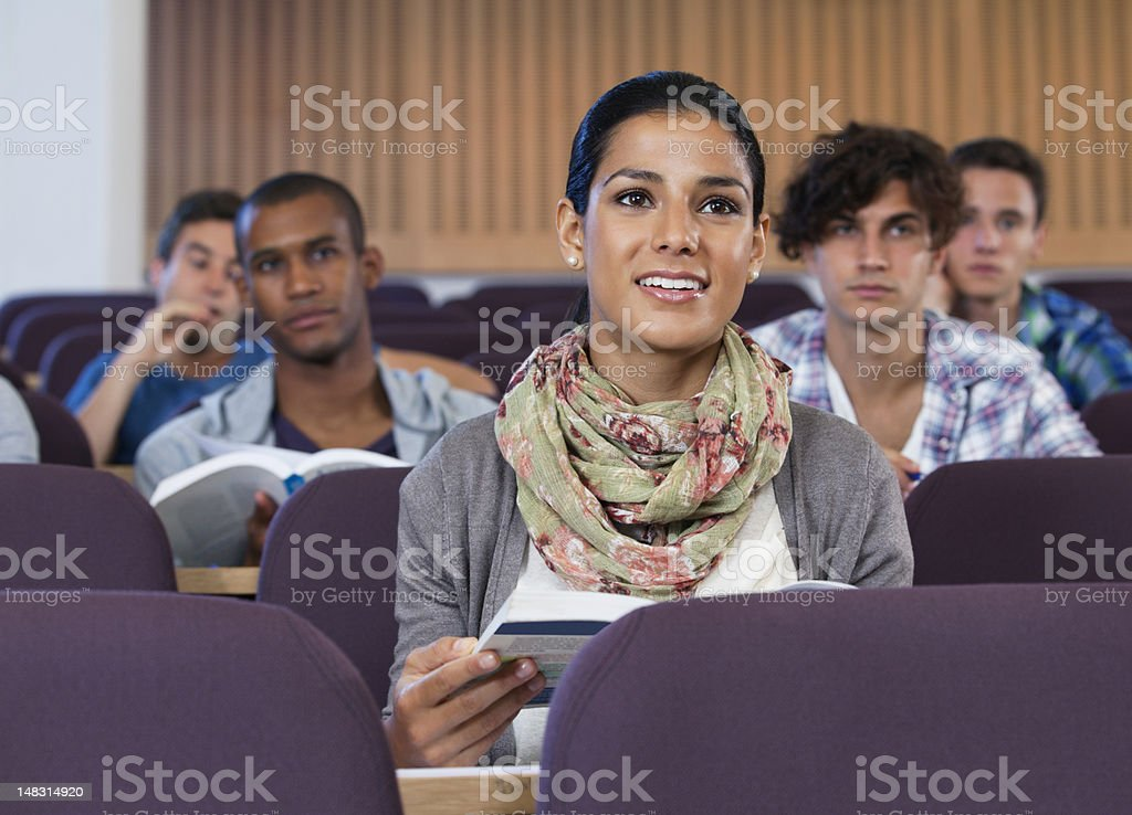 University students in lecture hall royalty-free stock photo