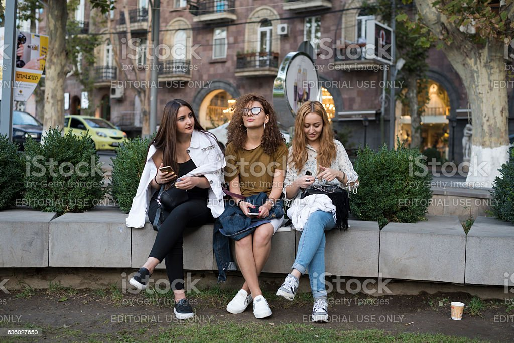 University students in Yerevan, Armenia stock photo