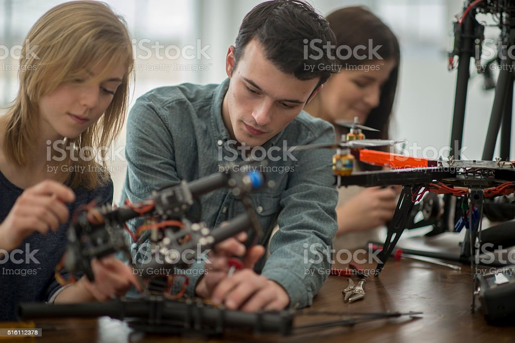 University Students Making a Flying Drone stock photo