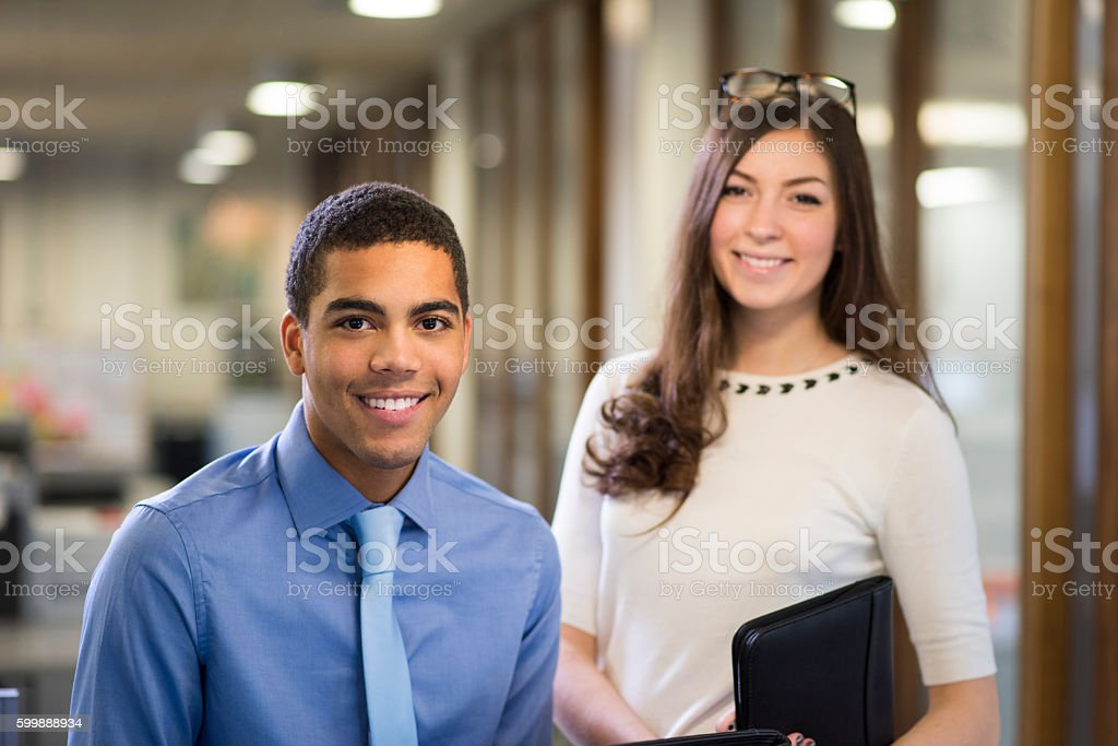 university students on a work placement . stock photo
