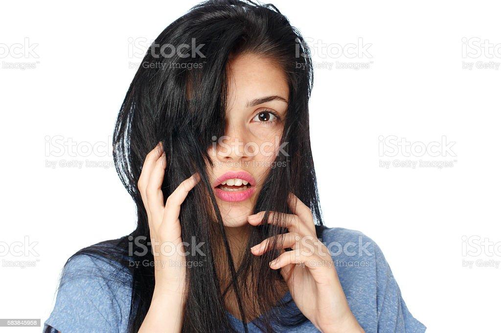 Unkempt hair. stock photo