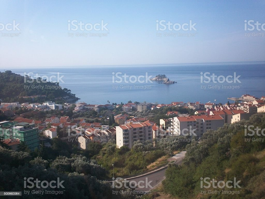 Unknown City and Island in Adriatic Sea stock photo