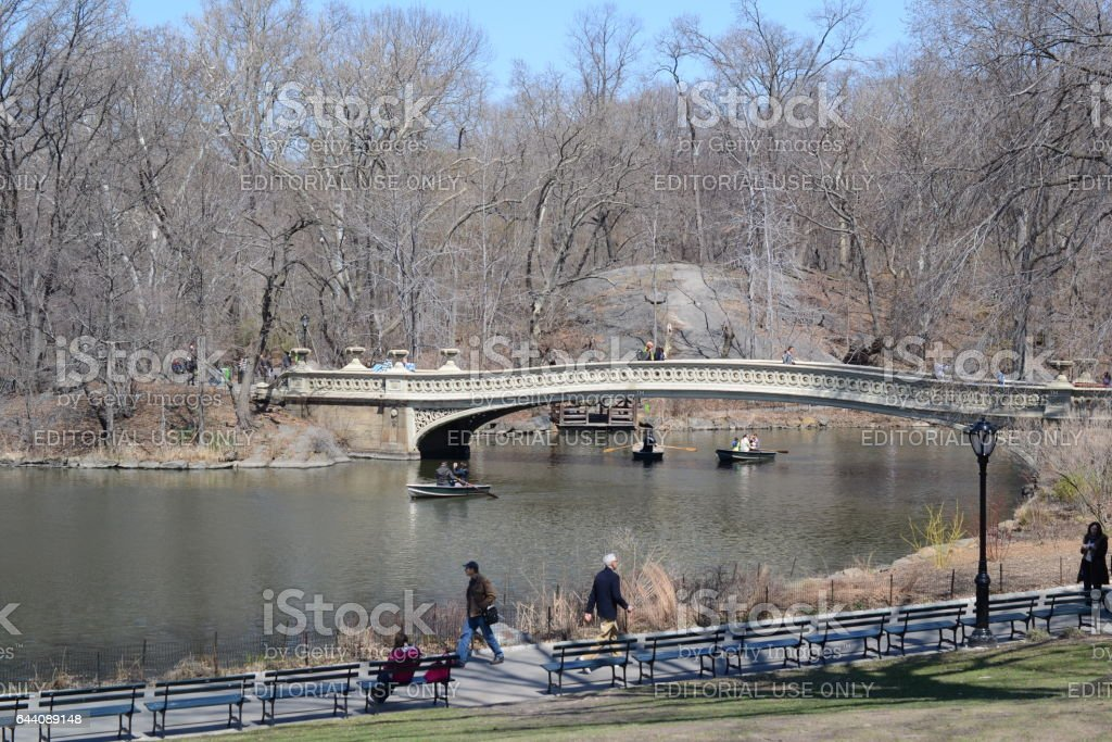 NEW YORK, USA - MARCH 26: Unknown people in the central park. The central park is one of the largest in the USA and the most known in the world on March 26, 2014 in New York, USA stock photo