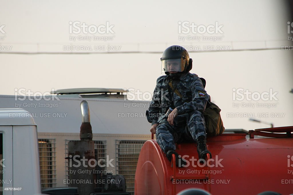 Unknown police videographer stock photo