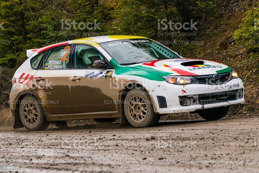 Unknown racer  on the car brand Subaru Impreza WRX stock photo