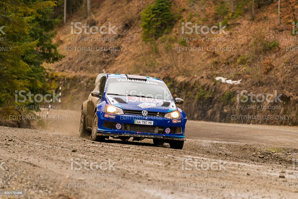 Unknown racer  on the car brand Volkswagen Polo Concept stock photo