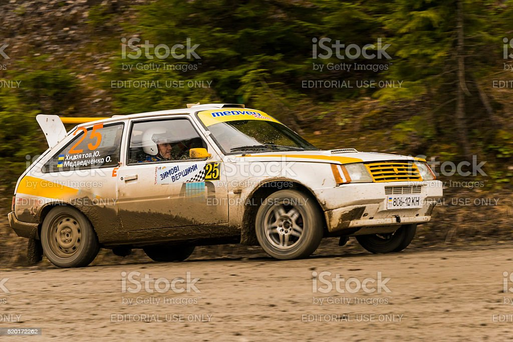 Unknown racer  on the car brand ZAZ  overcome the track stock photo