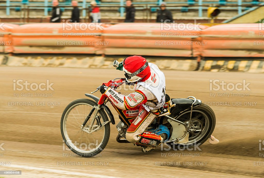 Unknown rider with GoPro camera overcomes the track stock photo