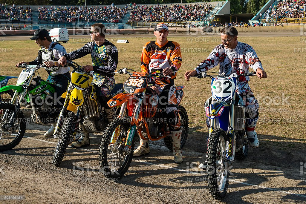 Unknown riders  during a prepare for the race stock photo