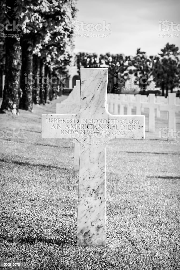 Unknown soldier at Meuse-Argonne American Cemetery in France stock photo