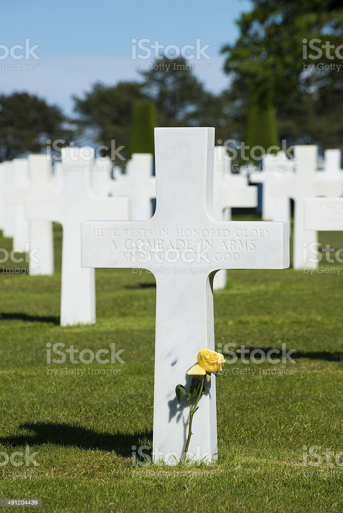 Unknown soldier at Normandy, France stock photo