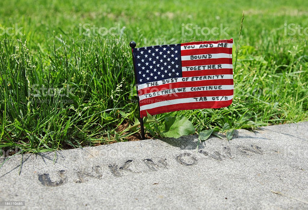Unknown Soldier Grave Tribute Flag stock photo