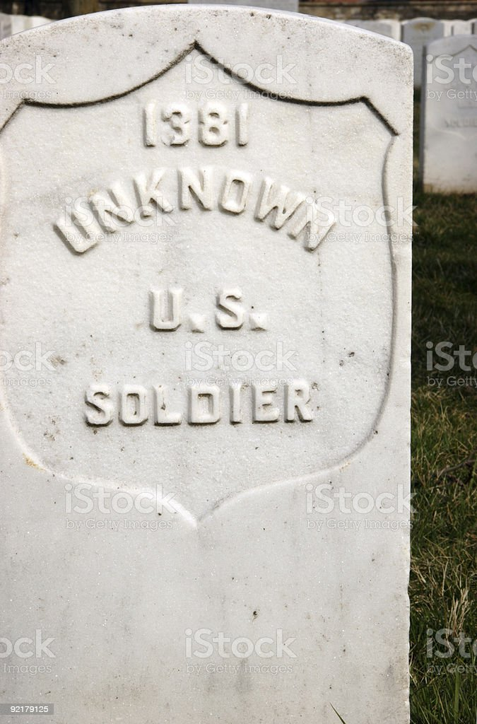 unknown soldier headstone stock photo