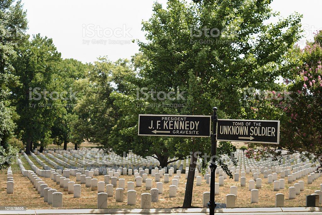 Unknown Soldier Sign at Arlington National Cemetery royalty-free stock photo