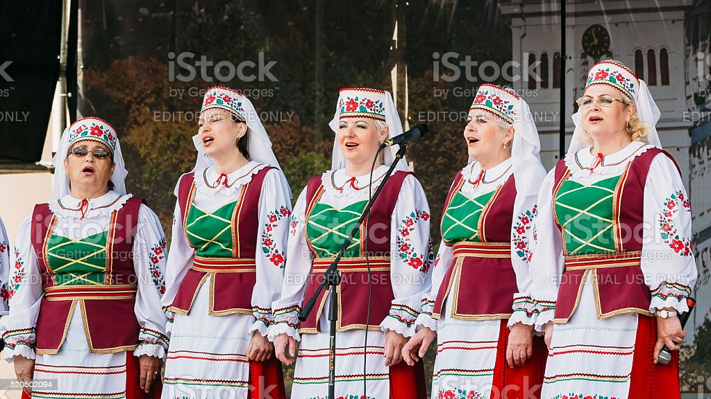 Unknown women group in national clothes in Gomel, Belarus stock photo