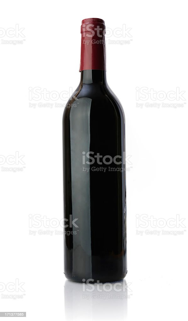 Unlabeled Bottle of Red Wine stock photo