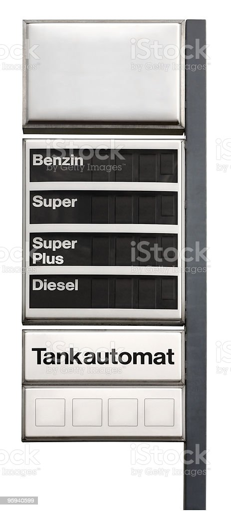 unlabeled fuel price sign stock photo
