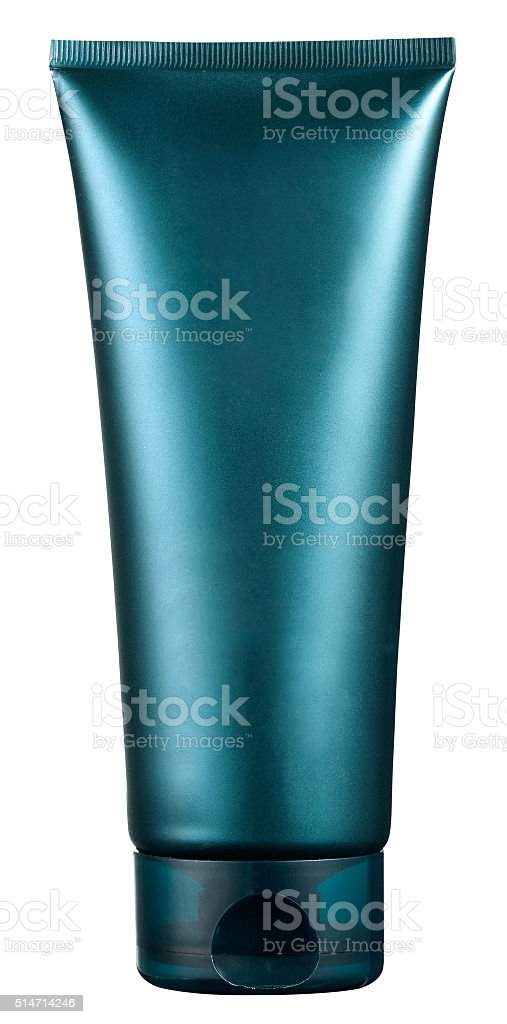 Unlabelled blue plastic beauty or cosmetics tube stock photo