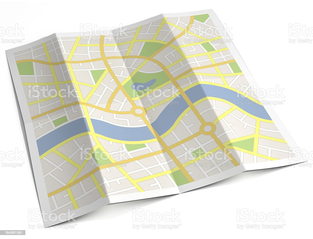 Unlabelled paper street map stock photo