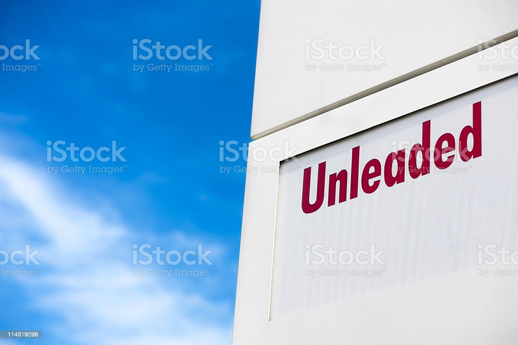 Unleaded sign stock photo
