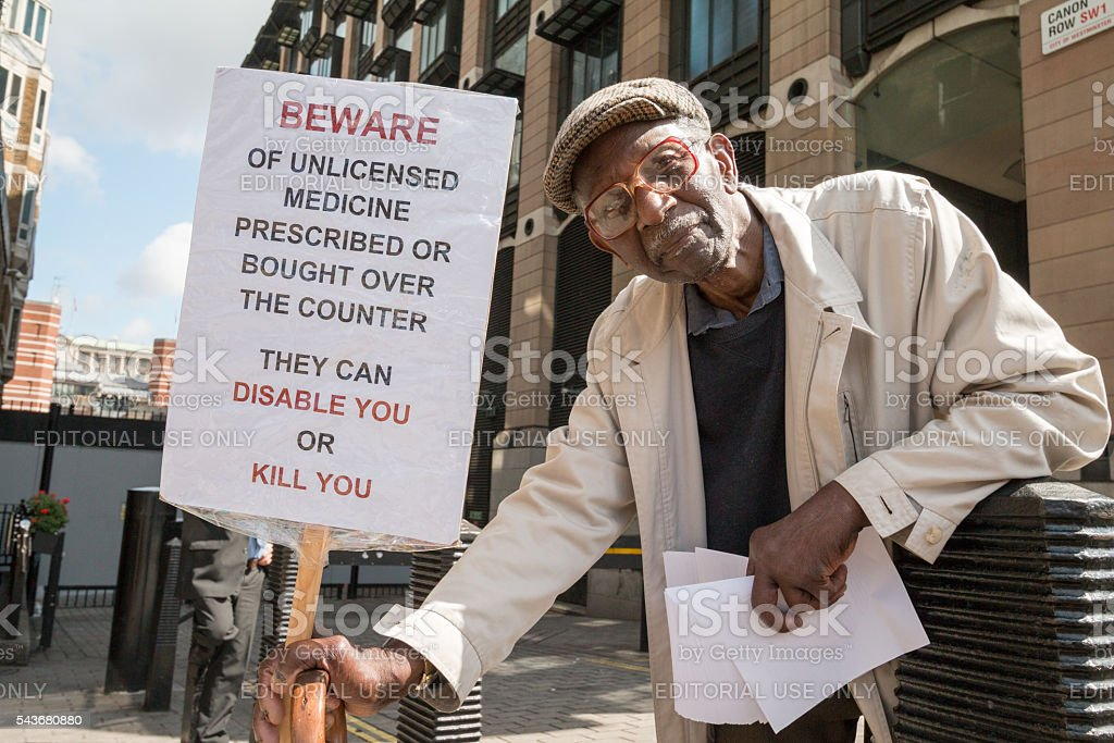 Unlicensed Medicine Protester in Westminster, London stock photo