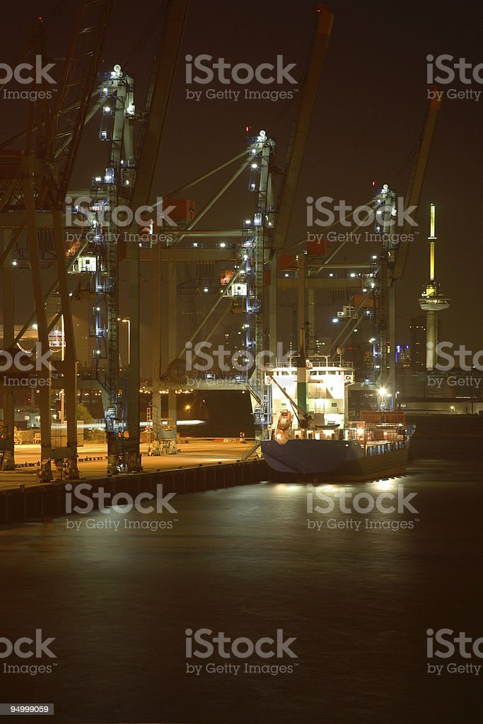 Unloading a ship royalty-free stock photo
