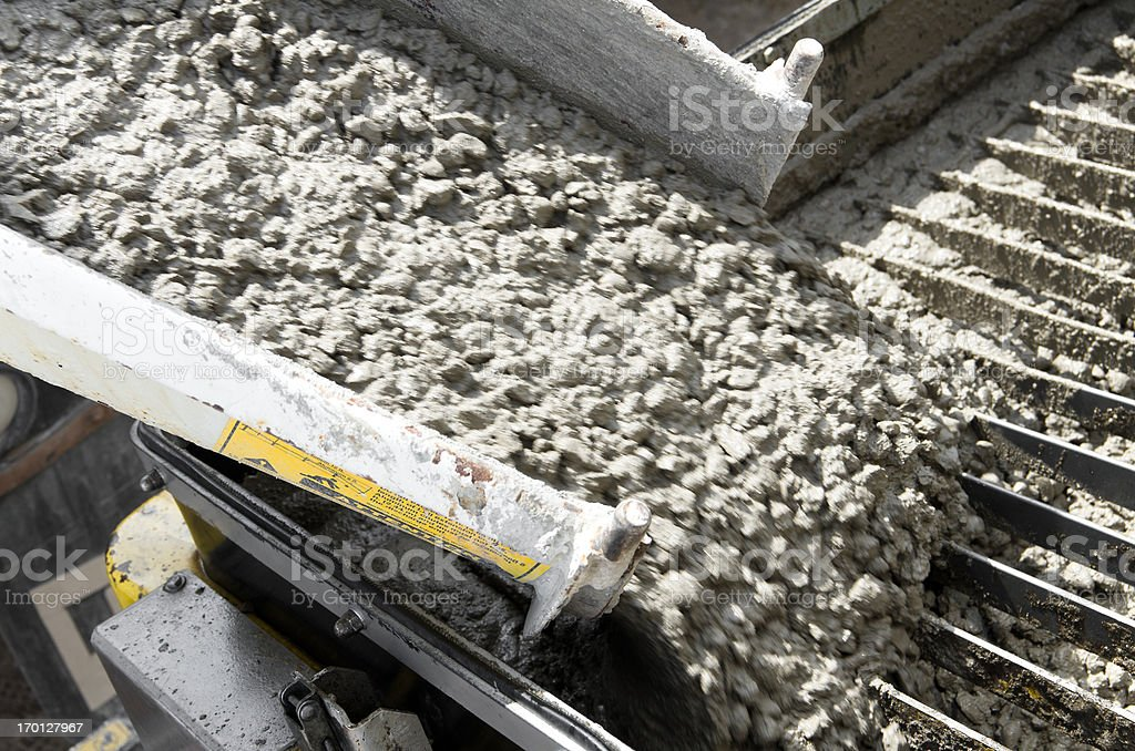 Unloading Cement at Construction Site stock photo