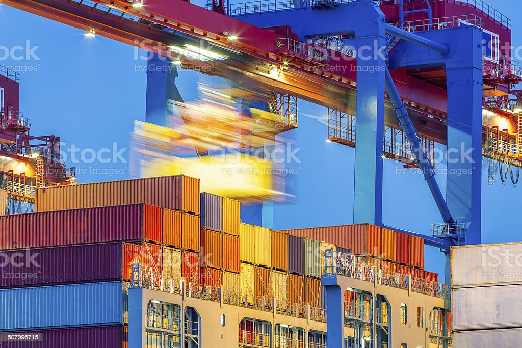 Unloading containers stock photo