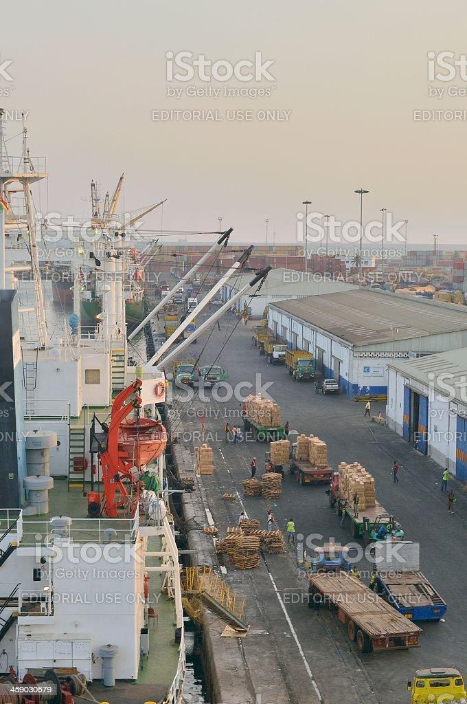 Unloading Ship In Ghana royalty-free stock photo