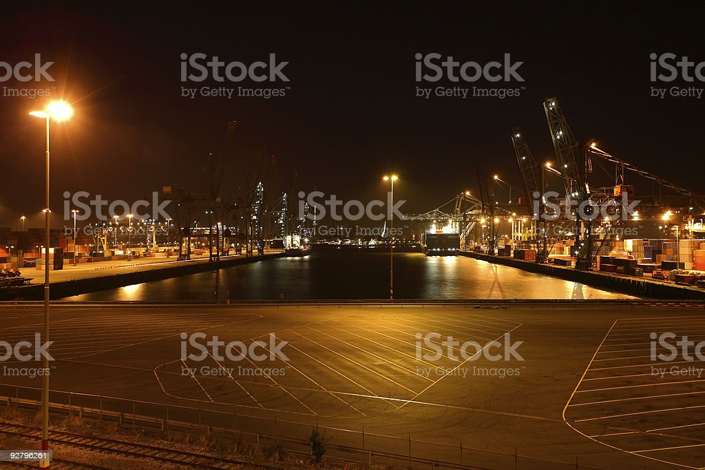 Unloading ships in a harbor stock photo