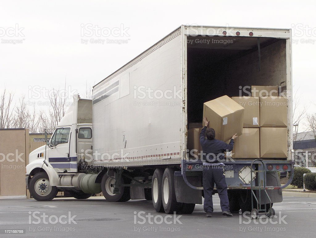 Unloading the Truck stock photo