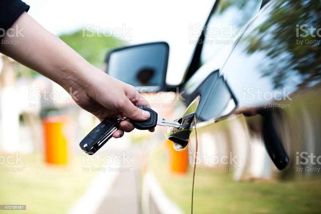 unlock car door stock photo
