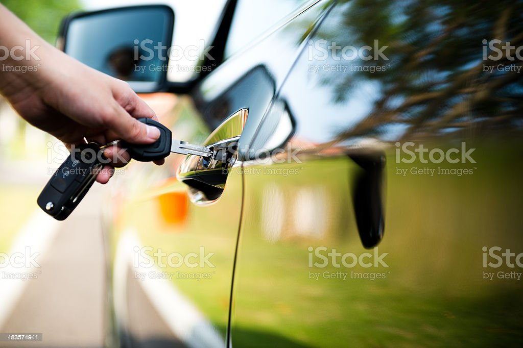 unlock car door stock photo