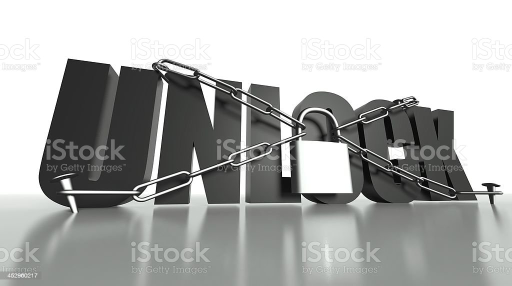 Unlock concept, safety padlock and chain royalty-free stock photo