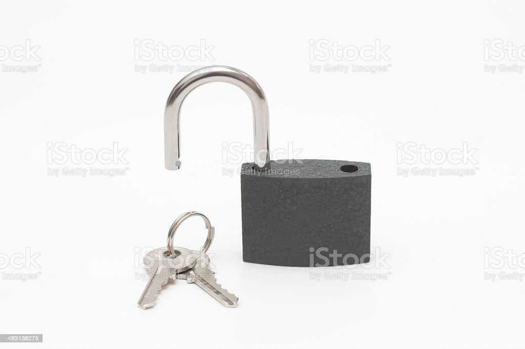 Unlock Padlock & Keys royalty-free stock photo